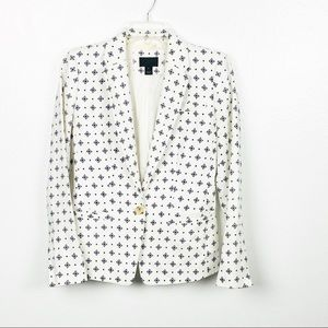 J. Crew White Linen Diamond Designed Blazer
